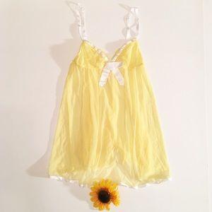 NWT yellow/ white Victoria's Secret lingerie S